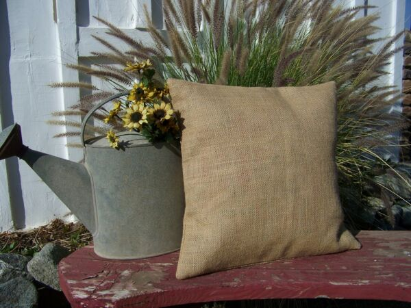 24x24 Burlap Pillow Throw Decorative French Country Farmhouse covers Set of 2