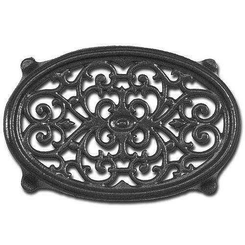Cast Iron Small Black Oval Filigree Trivet for Wood Stove Steamers