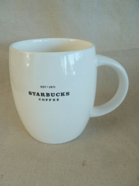 Starbucks Coffee Mug  White w Black Logo  2008   4 14