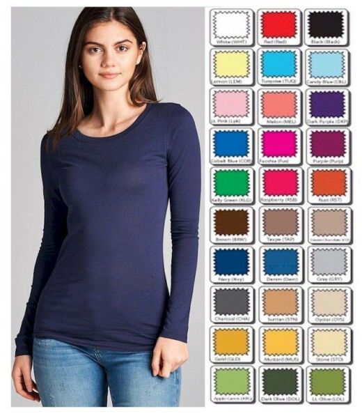 T Shirt Crew Long Sleeve Light Weight Active Basic Stretch Top S M L *CLOSE OUT $7.47