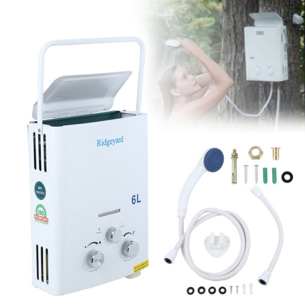1.6GPM Portable Tankless Hot Water Heater Campers Propane Gas LPG 6L $73.49