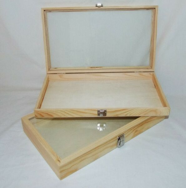 Natural Wood Glass Top Display Cases Package Of 2 $57.99