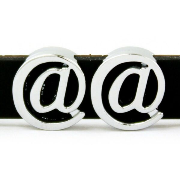 10 Silver Tone Alloy at Symbol quot;@quot; Slide Charms Beads Fit 8mm Wristband​s $2.75