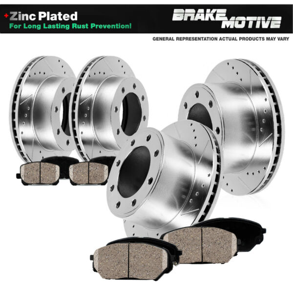 Front + Rear Drill Slot Brake Rotors And Ceramic Pads Dodge Ram 1500 2500 3500