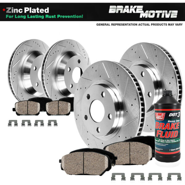 Front+Rear Drill Slot Brake Rotors Ceramic Pads ES300H ES350 Toyota Avalon Camry