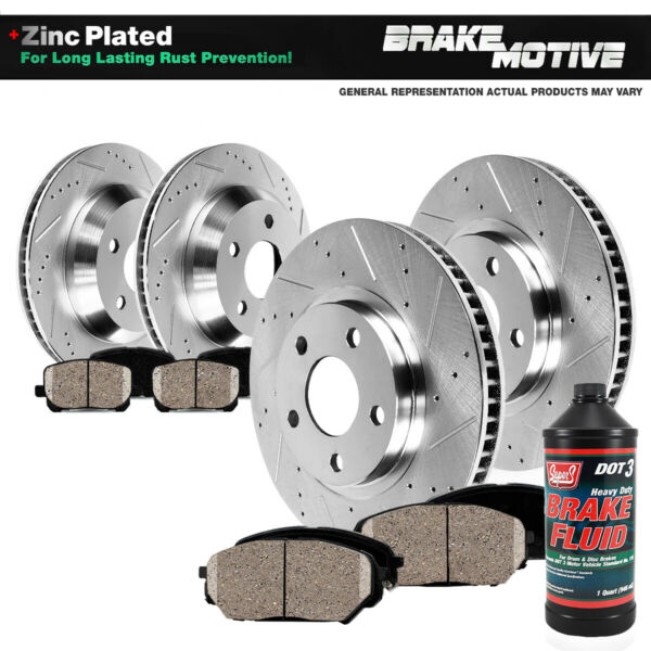 Front+Rear Drill Slot Brake Rotors And Ceramic Pads Dodge Charger Challenger 300