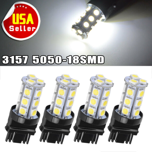 4x 3157 3156 HID White 18-SMD 5050 Signal Brake Backup DRL LED Light Bulbs