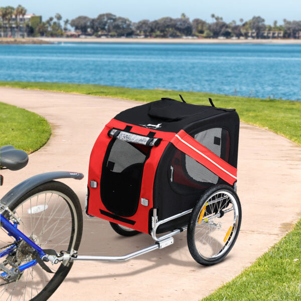 New Folding Pet Bicycle Trailer Dog Cat Bike Carrier w Drawbar Hitch Stroller