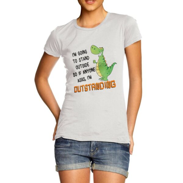 Twisted Envy Women#x27;s Outstanding Dinosaur Funny T Shirt