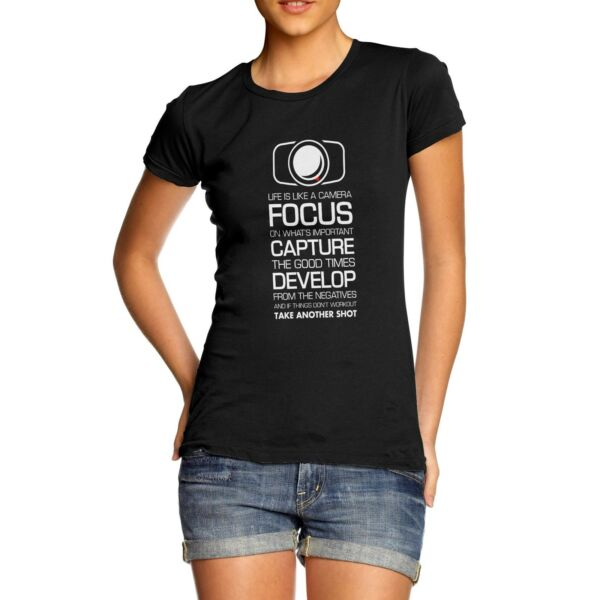 Twisted Envy Women#x27;s Focus Capture Develop Camera T Shirt