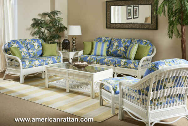 Rattan Man Whitewash Rattan Wicker Indoor 5 PC Seating Set by American Rattan