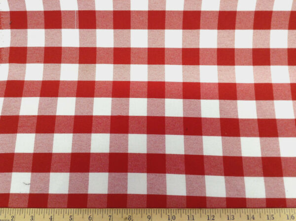Discount Twill Tablecloth Fabric Red and White Check 62