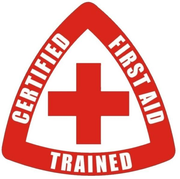 CERTIFIED FIRST AID TRAINED STICKER RED ON WHITE HARD HAT STICKER $1.48