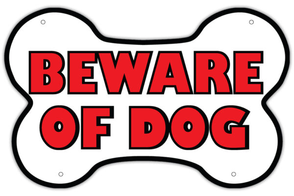 Beware of Dog Warning Sign Unique Bone Shaped Design 14quot; x 9quot; Red and White $9.99