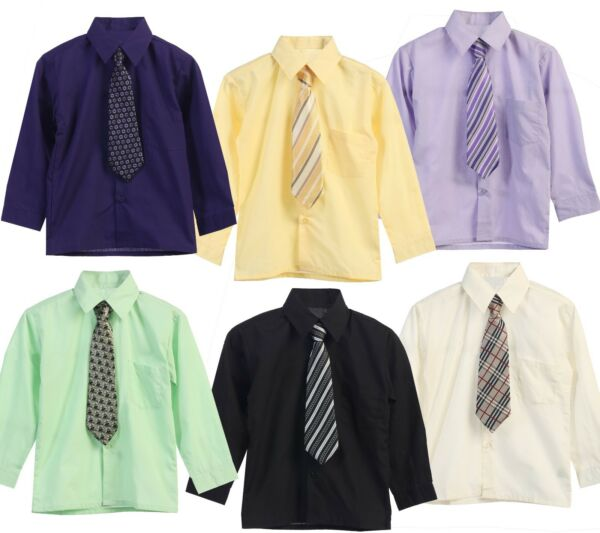 Boys Dress Shirt Toddler Long Sleeve Button Up Tie Solid 15 Colors Size 2T 3T 4T