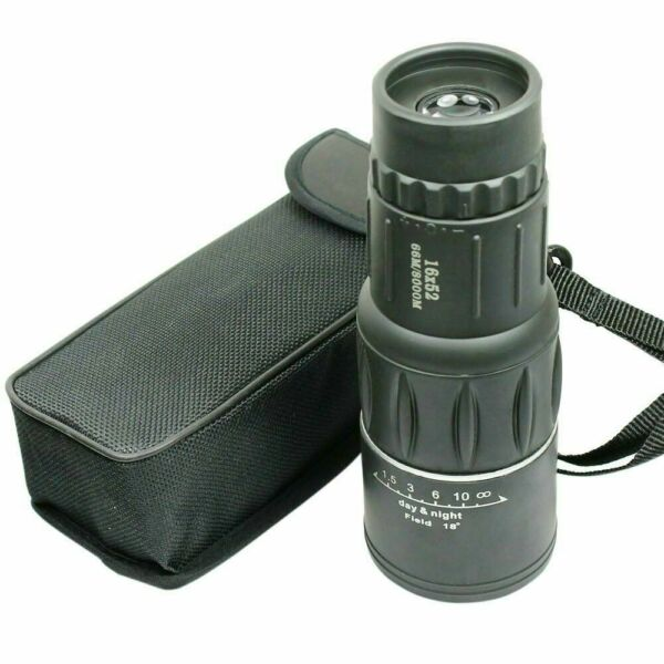 16X52 Monocular Zoom Dual Focus Rubber Armored Telescope for Hunting Camping