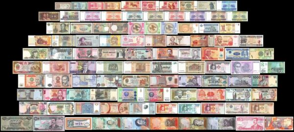 100 Pieces (PCS) of Different World MIX Foreign Banknotes,Currency,Uncirculated