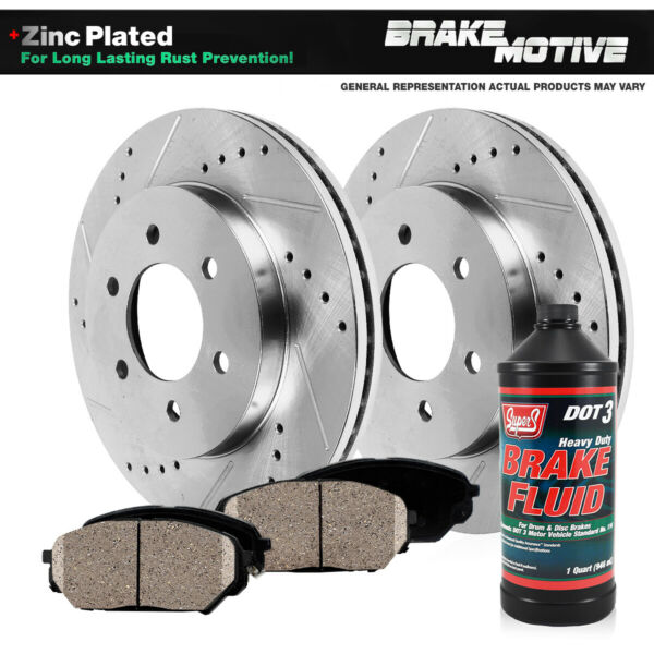 Fits Front Drill Slot Brake Rotors & Ceramic Pads Ford F150 Expedition Navigator