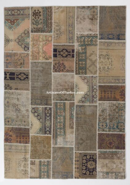 Natural Wool & Cotton blend PATCHWORK RUGS Handmade from Vintage Turkish Carpets