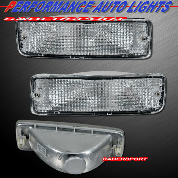 Pair Clear Park Signal Bumper Lights for 89-95 Toyota Pickup  90-91 4Runner