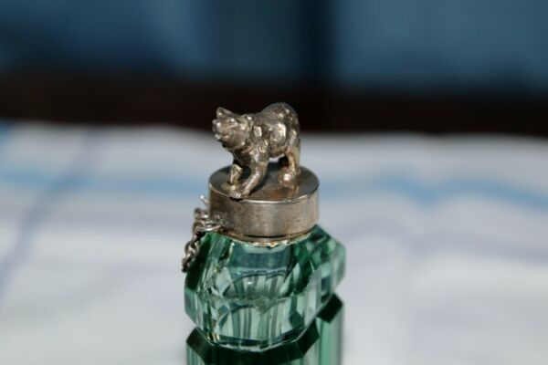 Unique jade green glass perfume bottle - 'Black Forest style' silver bear top