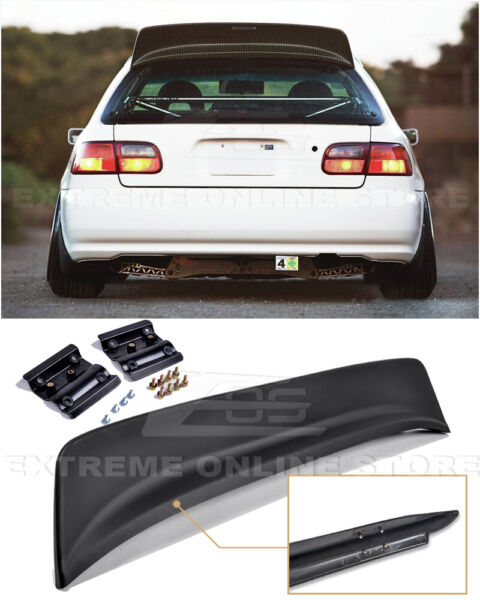JDM BYS Style ABS Plastic Rear Roof Spoiler Wing For 92-95 Honda Civic Hatchback