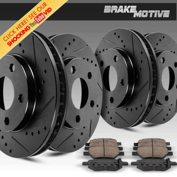 Front + Rear Kit Black Drilled And Slotted Brake Rotors & Ceramic Pads Chevy GMC