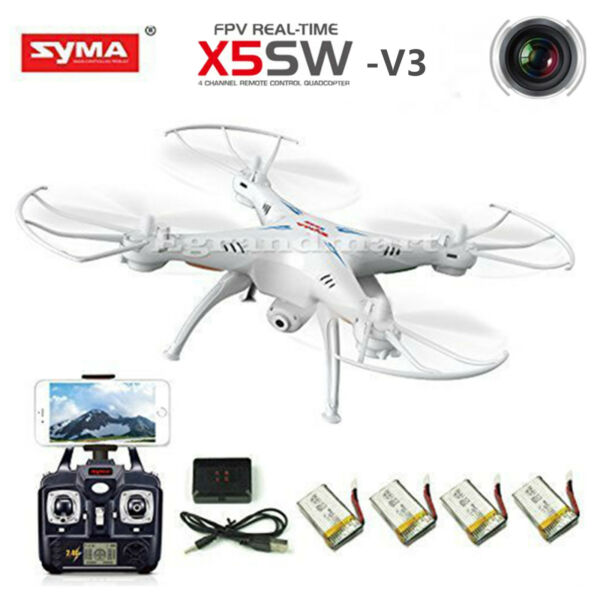 Syma X8W FPV 2.4Ghz Headless RC Quadcopter Drone UVA 2MP Wifi Camera RTF White