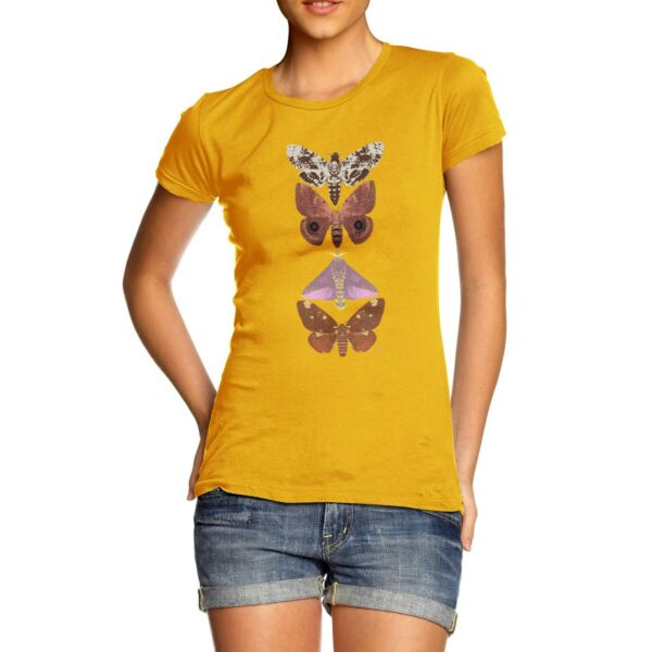 Twisted Envy Women#x27;s Butterflies And Moths 100% Cotton T Shirt
