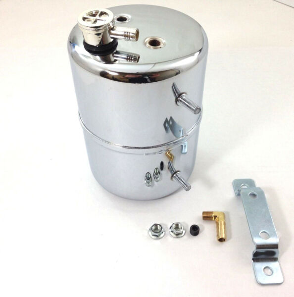 Chrome Vacuum Canister Reservoir Brake Booster Can with Check Valve