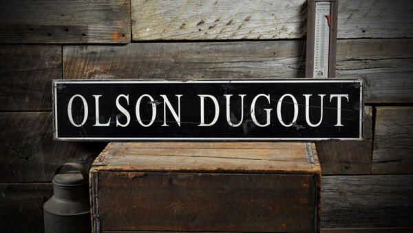 Custom Family Baseball Dugout Sign - Rustic Hand Made Distressed Wood ENS1000813
