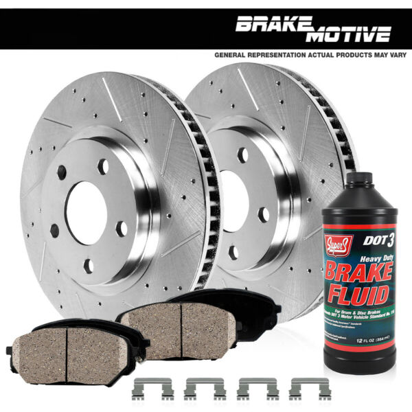 Front Drilled & Slotted Brake Rotors & Ceramic Pads Jeep XJ Cherokee TJ Wrangler