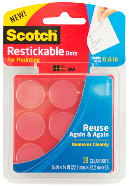 Scotch Restickable Dots For Mounting Removable Clear Double Sided Adhesive 18ct
