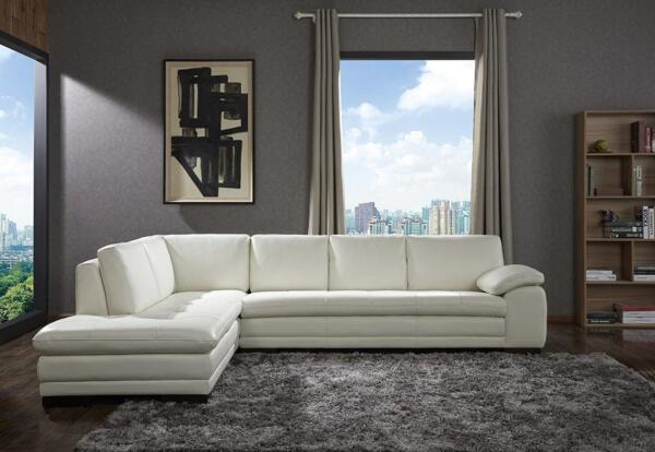 Premium White Leather Upholstery Sectional Sofa Left Hand J&M 625 Contemporary