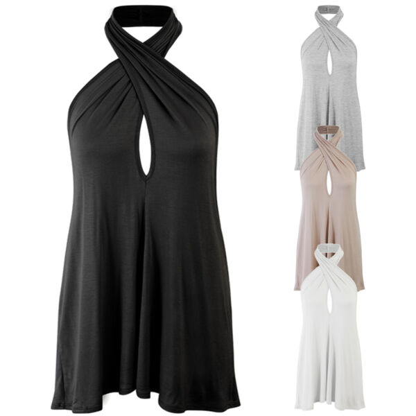 *CLEARANCE* Women's Cross Straps Key Hole Neck Open back Sexy Tunic Top