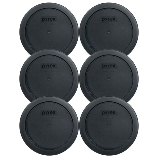 Pyrex 7201 PC 6quot; Black 4 Cup Plastic Storage Cover Lid 6 Pack New for Glass Bowl
