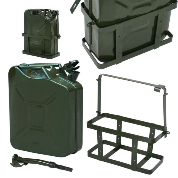 5 Gal NATO Style 20L Green Jerry Can Oil Fuel Steel Tank w Spout amp; Holder $41.99