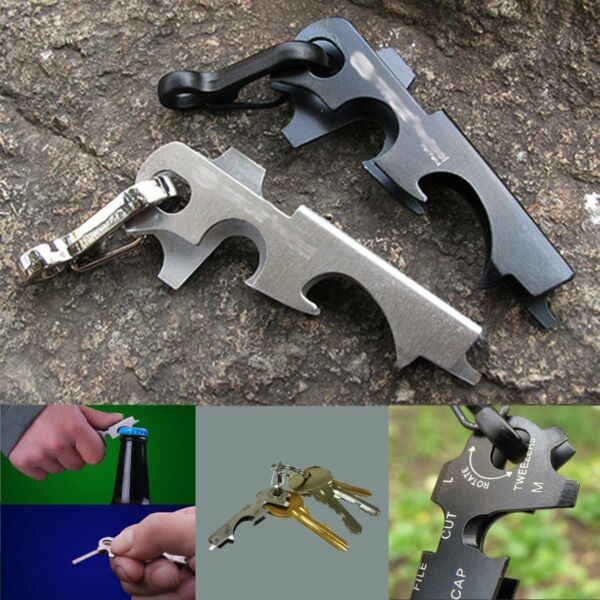 8 in 1 Pocket Multi Tools Keychain Outdoor Camping Survival Gear Stainless Steel