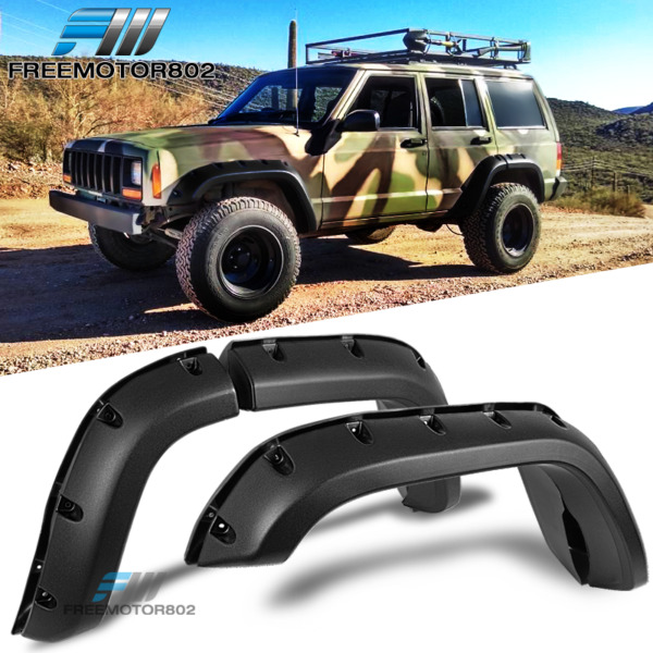 Fit 84-01 Jeep Cherokee XJ 4DR Pocket Rivet Style ABS Fender Flares Wheel Cover