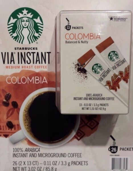 6 BOXES=78 PACKS STARBUCKS VIA INSTANT COFFEE MED ROAST COLUMBIA BEST 102318