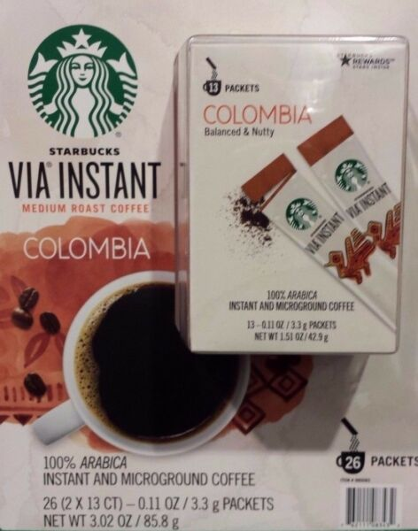 12 BOXES=156 PACKS STARBUCKS VIA INSTANT COFFEE MED ROAST COLUMBIA BEST 102318