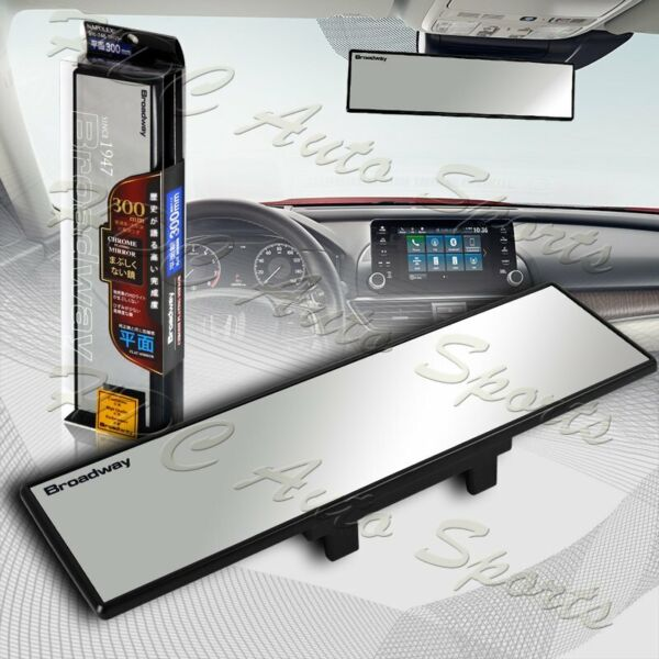 Universal Broadway 300MM Wide Flat Interior Clip On Rear View Clear Glass Mirror $12.59
