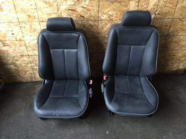 MERCEDES W210 E320 OEM FRONT POWER LEATHER ORTHOPEDIC HEATED AIR AC SEATS BLACK