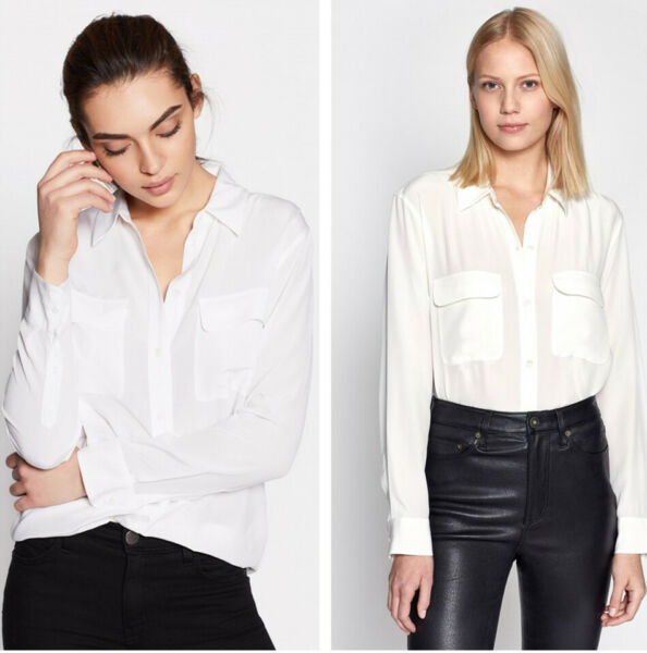 NEW AUTH Equipment SLIM Signature Silk Shirt $214, White, Q23-E23