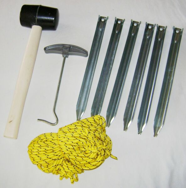 NEW TENT ACCESSORIES SET MALLET RIPPLE PEGS HI VIS GUY ROPE & EXTRACTOR PMS