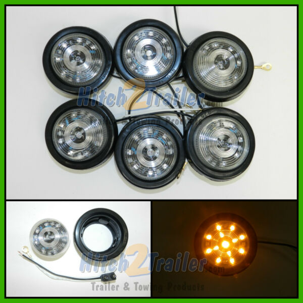 6 CLEAR LENS AMBER 13 LED Light Trailer 2 1 2quot; roundClearance marker 2.5quot; $39.99