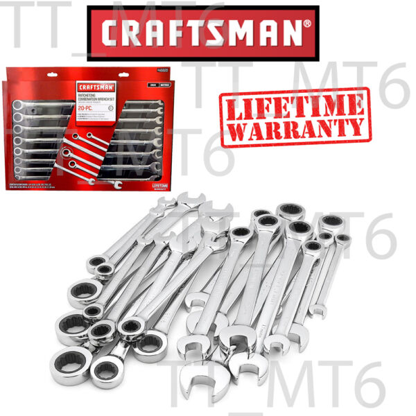 Craftsman 20 pc Combination Ratcheting Wrench Set Metric MM & Standard SAE