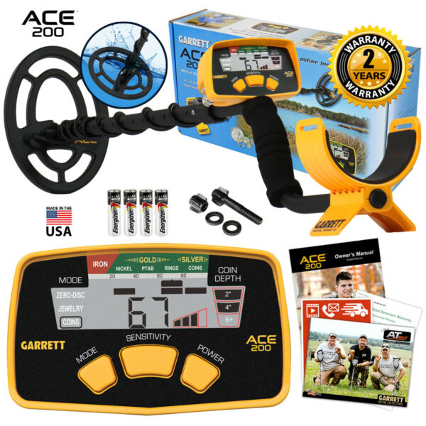 Garrett ACE 200 Metal Detector with 6.5quot; x 9quot; PROformance Waterproof Search Coil