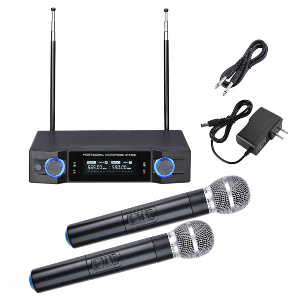 Pro 2 Channel Receiver UHF Wireless Microphone System w 2 Handheld Mics Audio