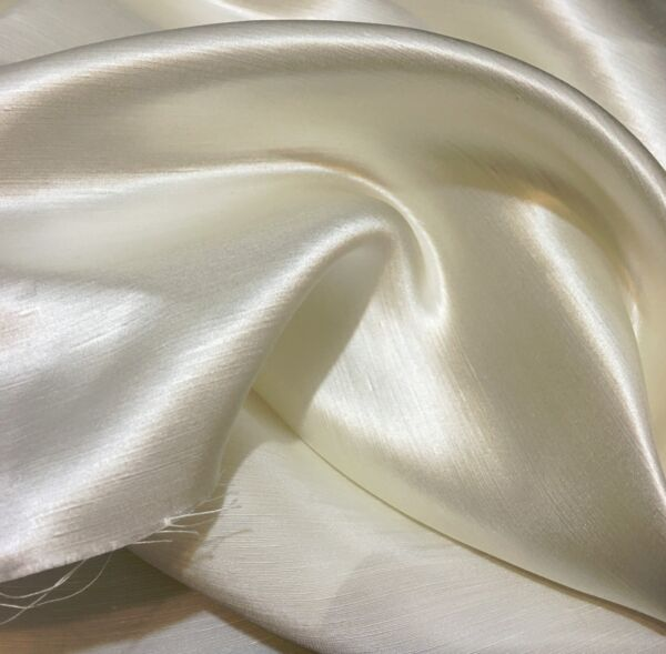 Off White Ivory Linen Silk Satin Fabric 45quot; Wide By The Yard
